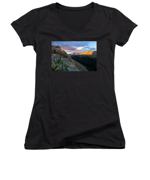 First Light On The Mountain Women's V-Neck (Athletic Fit)
