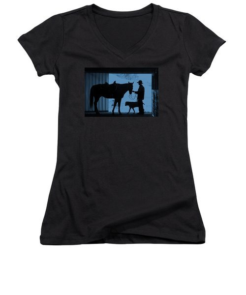 Women's V-Neck T-Shirt (Junior Cut) featuring the photograph First Light by Steven Bateson