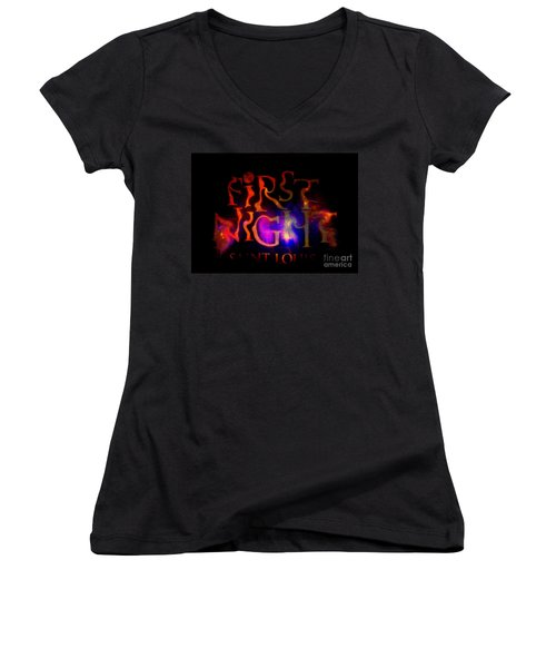 First Night Sign 2 Women's V-Neck T-Shirt (Junior Cut) by Kelly Awad