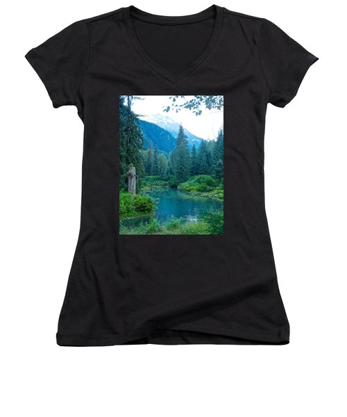 Fish Creek In Tongass National Forest By Hyder-ak  Women's V-Neck T-Shirt (Junior Cut) by Ruth Hager