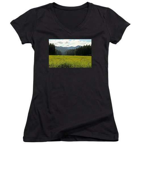 Fish Lake - Open Field Women's V-Neck (Athletic Fit)