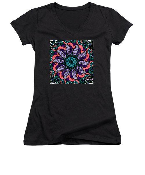 Women's V-Neck T-Shirt (Junior Cut) featuring the digital art Fish / Seahorse by Elizabeth McTaggart