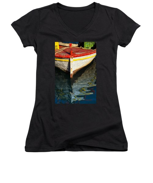 Fishing Boat In Greece Women's V-Neck T-Shirt