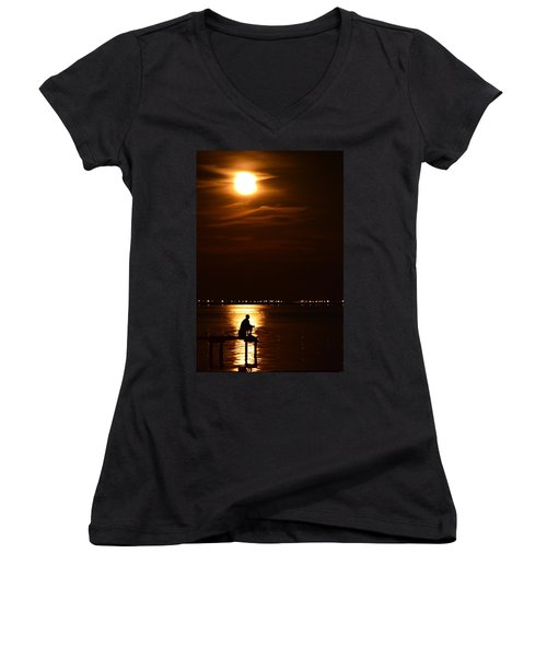 Fishing By Moonlight01 Women's V-Neck T-Shirt (Junior Cut) by Jeff at JSJ Photography