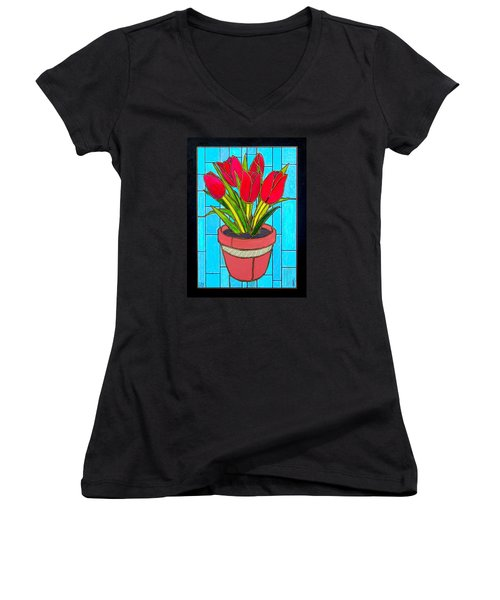 Five Red Tulips Women's V-Neck T-Shirt (Junior Cut) by Jim Harris