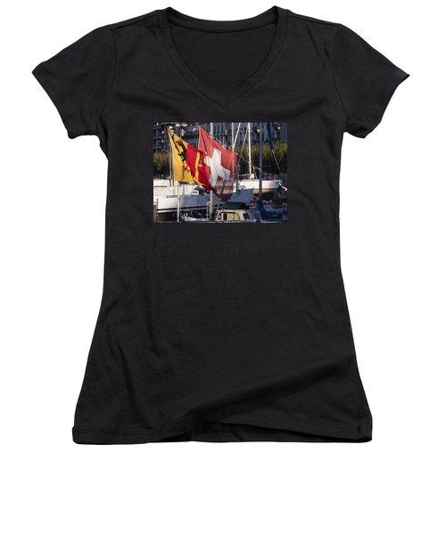 Flags Women's V-Neck (Athletic Fit)