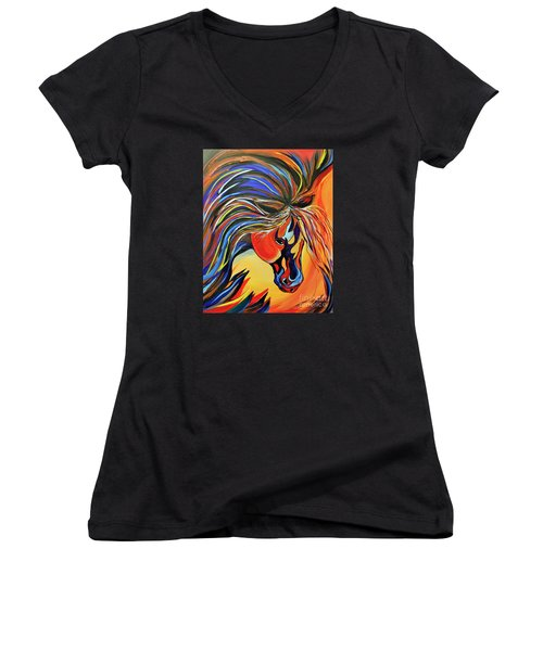 Women's V-Neck T-Shirt (Junior Cut) featuring the painting Flame Bold And Colorful War Horse by Janice Rae Pariza