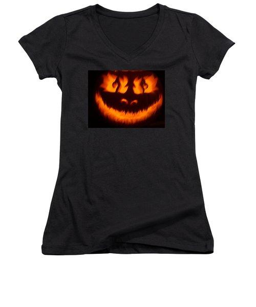 Flame Pumpkin Women's V-Neck