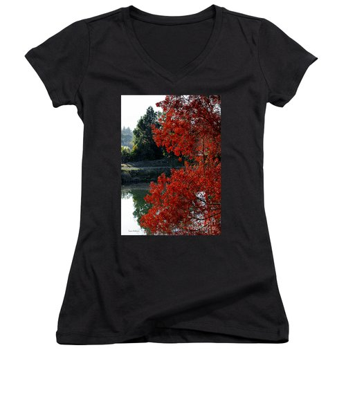 Flame Red Tree Women's V-Neck T-Shirt (Junior Cut) by Susan Wiedmann