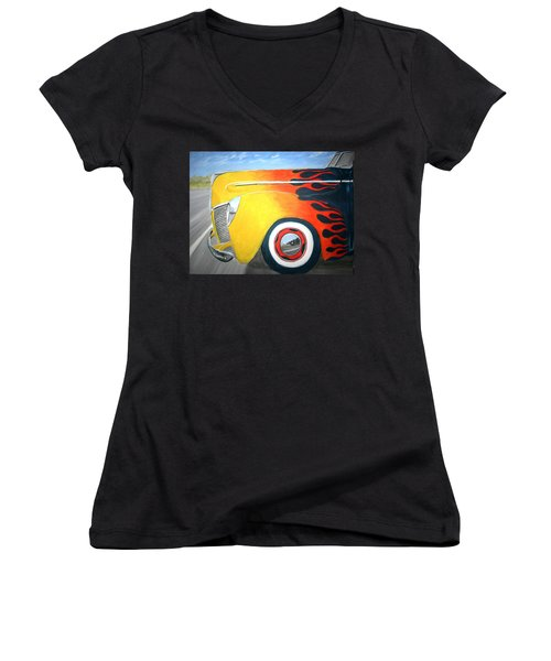 Women's V-Neck T-Shirt (Junior Cut) featuring the painting Flames by Stacy C Bottoms