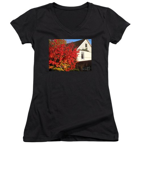 Women's V-Neck T-Shirt (Junior Cut) featuring the photograph Flaming Fall Colours On Farm House by Nina Silver