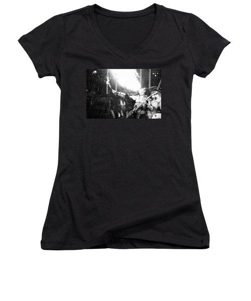 Women's V-Neck T-Shirt (Junior Cut) featuring the photograph Flaming Gene by Steven Macanka