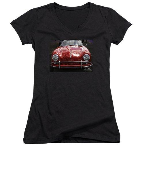 Flaming Red Porsche Women's V-Neck T-Shirt (Junior Cut) by Victoria Harrington