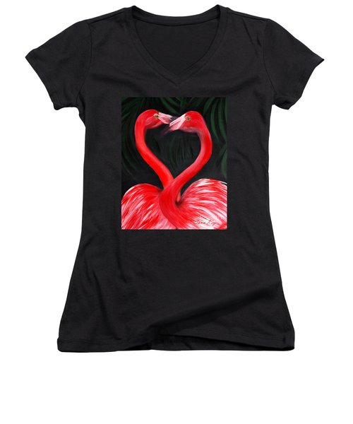 Love  Is... Flamingo Love. Inspirations Collection Women's V-Neck (Athletic Fit)