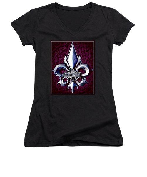 Fleurs De Lys With Harley Davidson Logo Women's V-Neck T-Shirt (Junior Cut) by Danielle  Parent