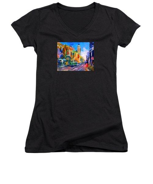 Flinders Street - Original Sold Women's V-Neck T-Shirt (Junior Cut) by Therese Alcorn
