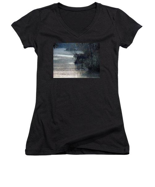 Women's V-Neck T-Shirt (Junior Cut) featuring the photograph Flint River 28 by Kim Pate