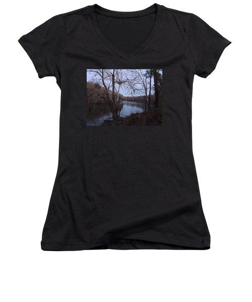 Women's V-Neck T-Shirt (Junior Cut) featuring the photograph Flint River 4 by Kim Pate