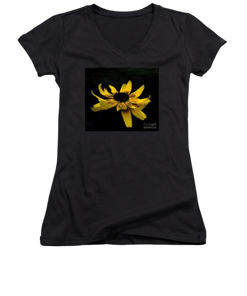 Women's V-Neck T-Shirt (Junior Cut) featuring the photograph  Black Eyed Susan Suspense by Ecinja