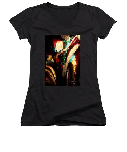 Women's V-Neck T-Shirt (Junior Cut) featuring the photograph Floral Abstract I by Sharon Elliott