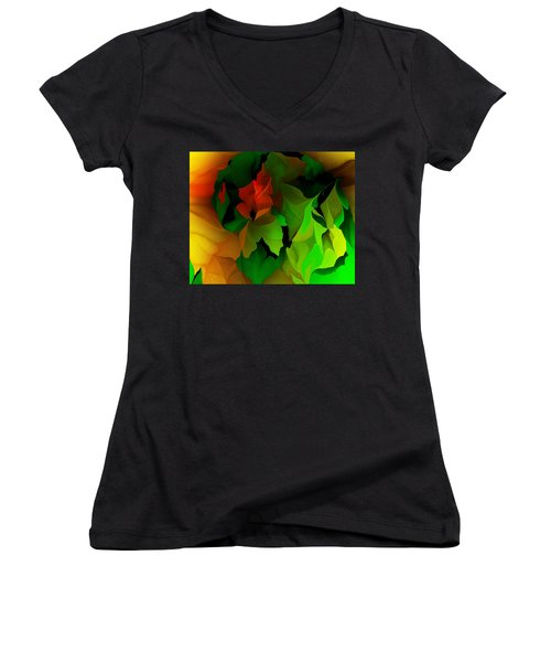 Women's V-Neck T-Shirt (Junior Cut) featuring the digital art Floral Abstraction 090814 by David Lane