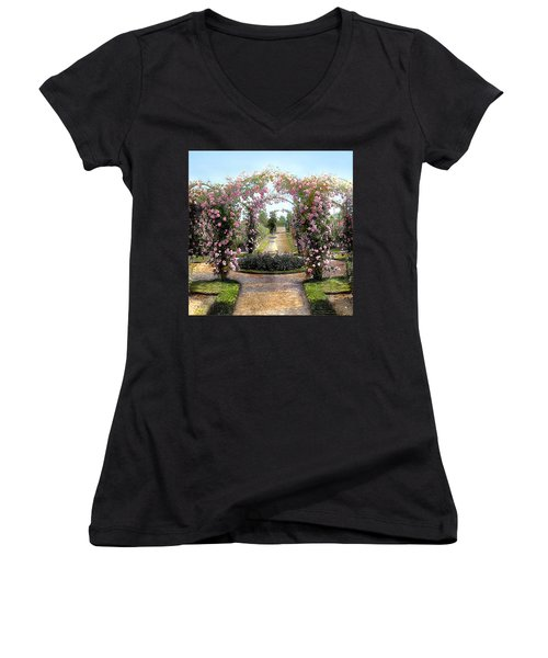 Floral Arch Women's V-Neck T-Shirt