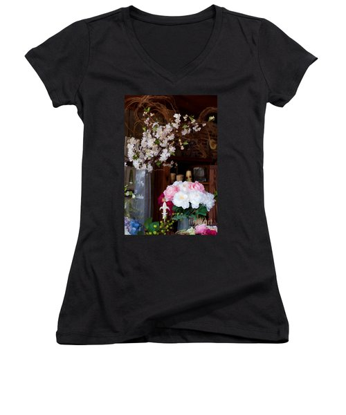 Floral Display Women's V-Neck T-Shirt (Junior Cut) by Liane Wright