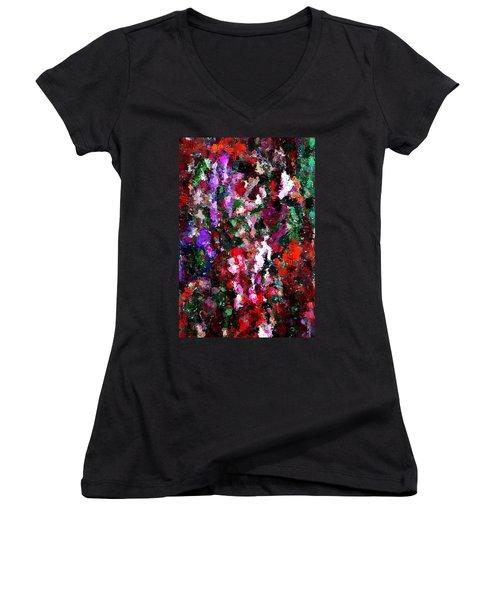 Floral Expression 021015 Women's V-Neck T-Shirt (Junior Cut) by David Lane