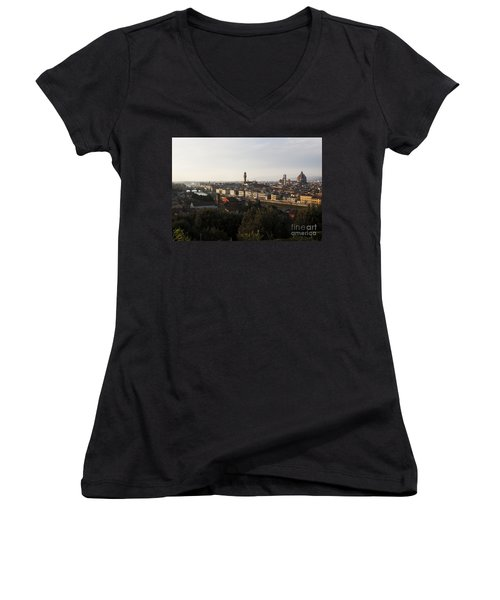 Women's V-Neck T-Shirt (Junior Cut) featuring the photograph Florence Form The Piazza Michalengelo by Belinda Greb