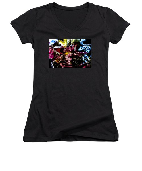Women's V-Neck T-Shirt (Junior Cut) featuring the digital art Flores' Darker More Uncomfortable Twin by Richard Thomas