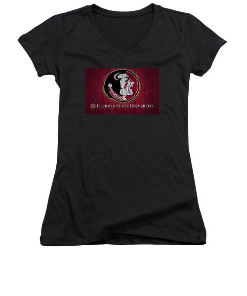 Women's V-Neck featuring the mixed media Florida State University Barn Door by Dan Sproul