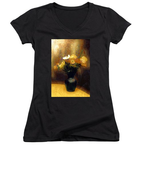 Women's V-Neck T-Shirt (Junior Cut) featuring the mixed media Flourish  by Aaron Berg