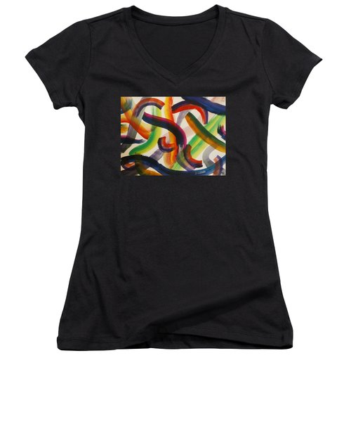 Women's V-Neck T-Shirt featuring the painting Flow by Thomasina Durkay