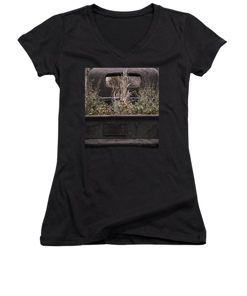 Women's V-Neck T-Shirt (Junior Cut) featuring the photograph Flower Bed - Nature And Machine by Steven Milner