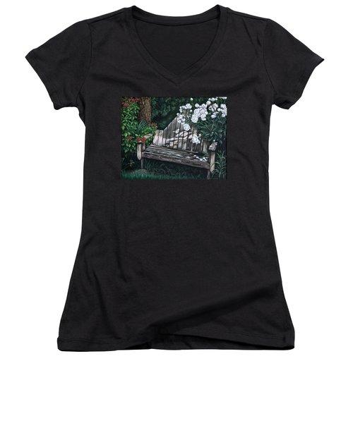 Flower Garden Seat Women's V-Neck T-Shirt