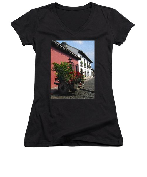 Flower Wagon Antigua Guatemala Women's V-Neck