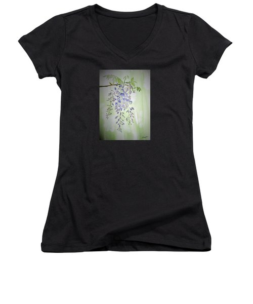 Flowering Wisteria Women's V-Neck T-Shirt (Junior Cut) by Elvira Ingram