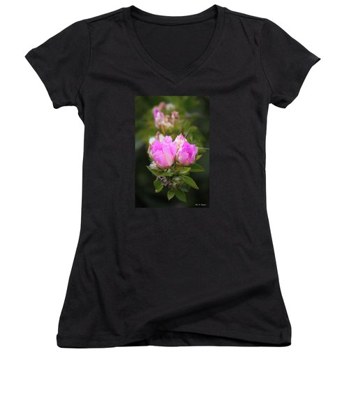 Women's V-Neck T-Shirt (Junior Cut) featuring the photograph Flowers For You by Amy Gallagher