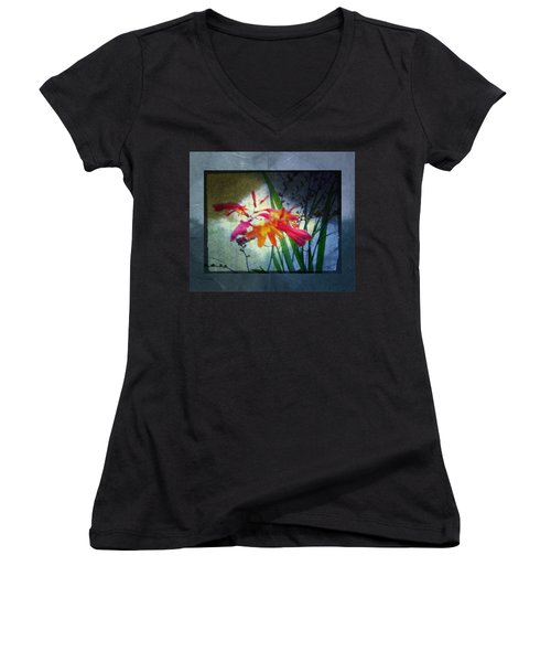 Flowers On Parchment Women's V-Neck T-Shirt (Junior Cut) by Absinthe Art By Michelle LeAnn Scott