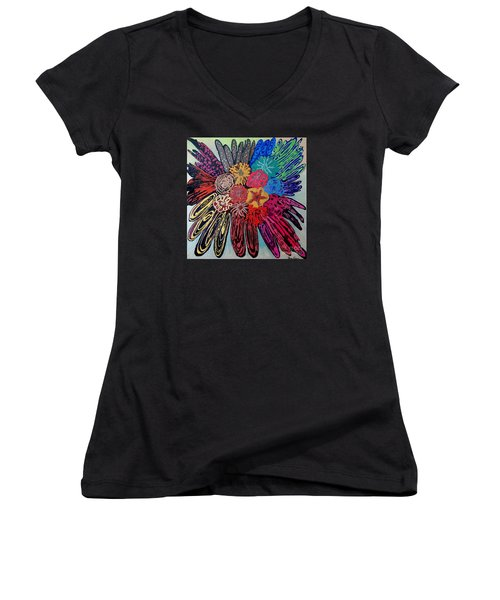 Women's V-Neck T-Shirt (Junior Cut) featuring the painting Flowers Burst By Jasna Gopic by Jasna Gopic