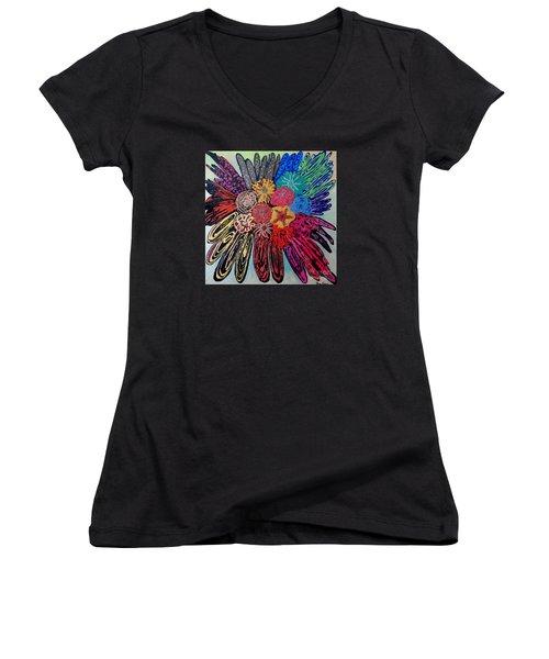 Flowers Burst By Jasna Gopic Women's V-Neck T-Shirt