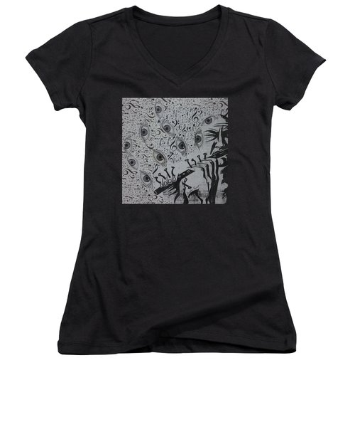Women's V-Neck T-Shirt (Junior Cut) featuring the mixed media Flute Concerto In Eye Minor by Douglas Fromm