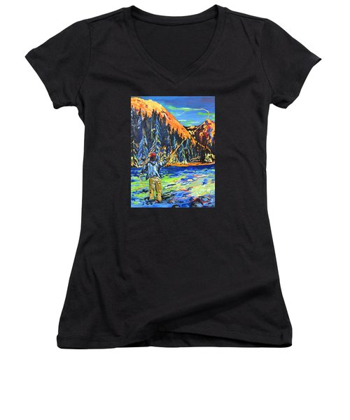 Fly Fisherman Women's V-Neck (Athletic Fit)