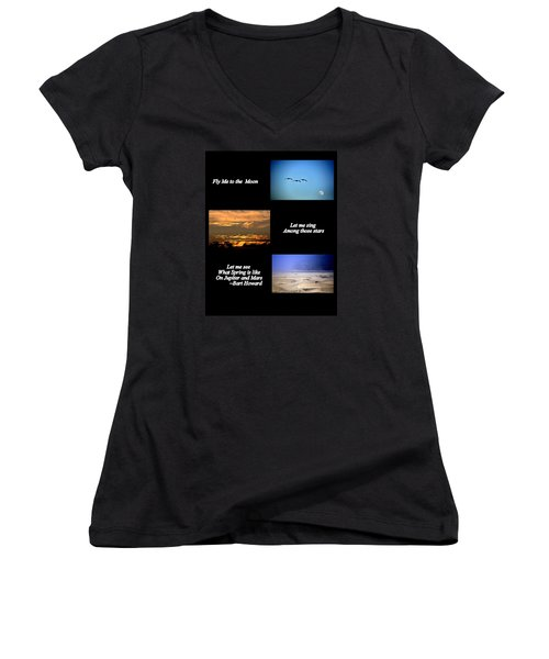 Women's V-Neck T-Shirt (Junior Cut) featuring the photograph Fly Me To The Moon by AJ  Schibig