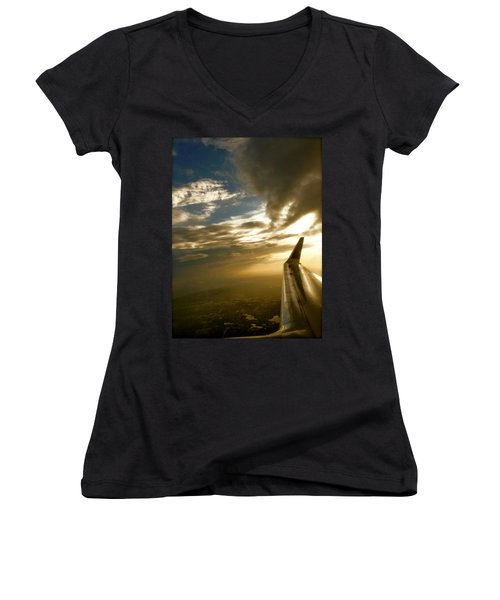 Flying Clouds By David Pucciarelli Women's V-Neck T-Shirt (Junior Cut) by Iconic Images Art Gallery David Pucciarelli