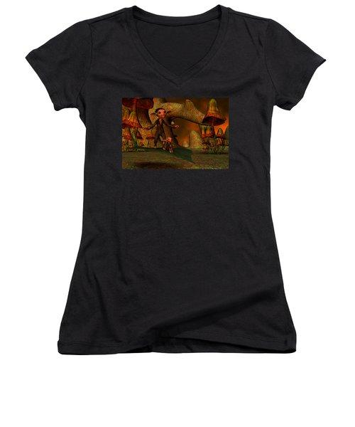 Women's V-Neck T-Shirt (Junior Cut) featuring the digital art Flying Through A Wonderland by Gabiw Art