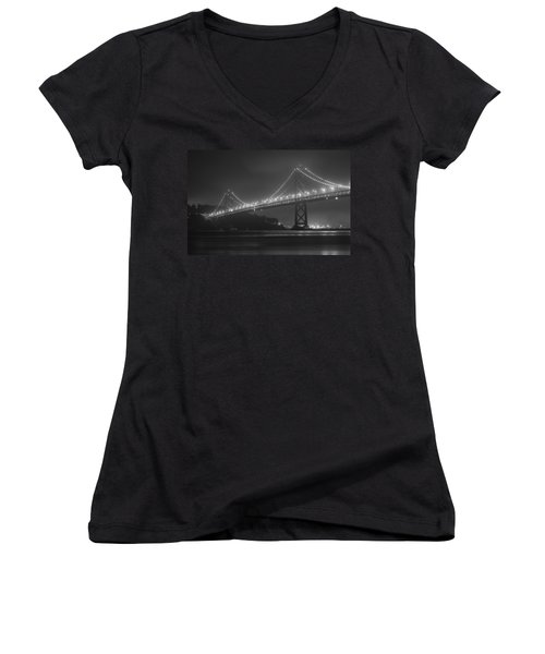 Foggy Bay Bridge Women's V-Neck