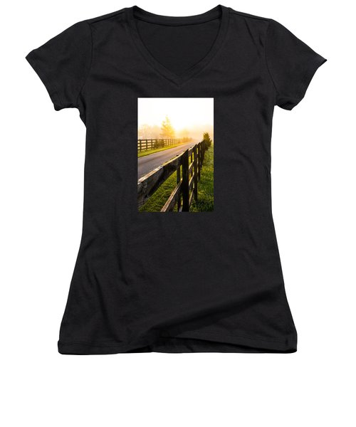 Foggy Morning Women's V-Neck T-Shirt (Junior Cut) by Shelby  Young