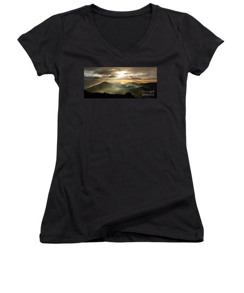 Foggy Sunrise Over Haleakala Crater On Maui Island In Hawaii Women's V-Neck T-Shirt (Junior Cut) by IPics Photography