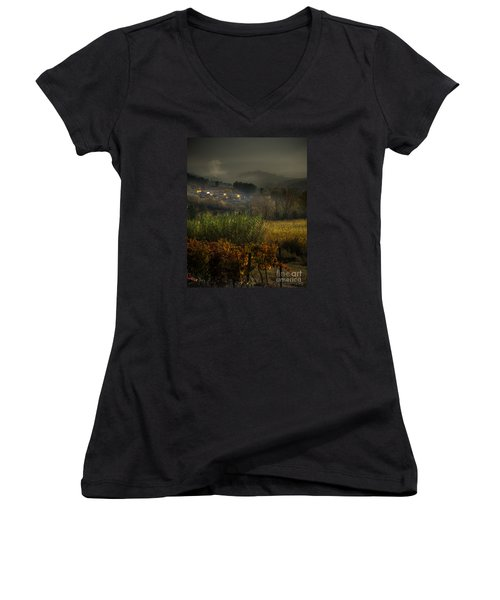 Foggy Tuscan Valley  Women's V-Neck T-Shirt